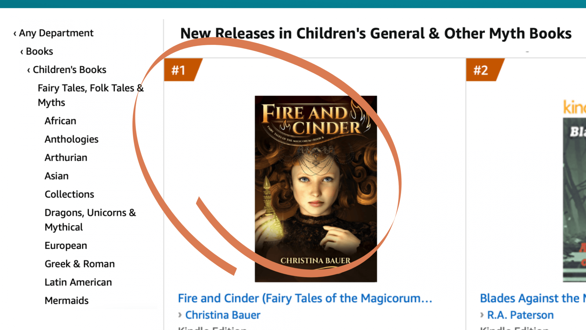 FIRE AND CINDER #1 on Amazon